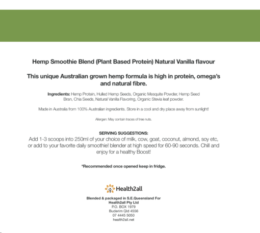 Hemp Seed Protein Powder - Vanilla